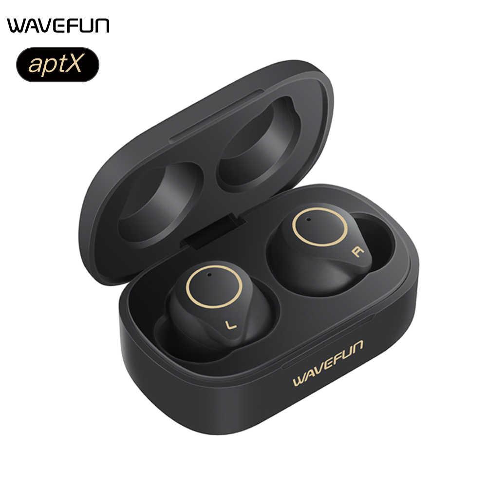 Wavefun słuchawki Bluetooth aptX słuchawki hi-fi IPX7 słuchawki douszne słuchawki bezprzewodowe sterowanie dotykowe TWS zestaw słuchawkowy BT5.0 podwójny mikrofon