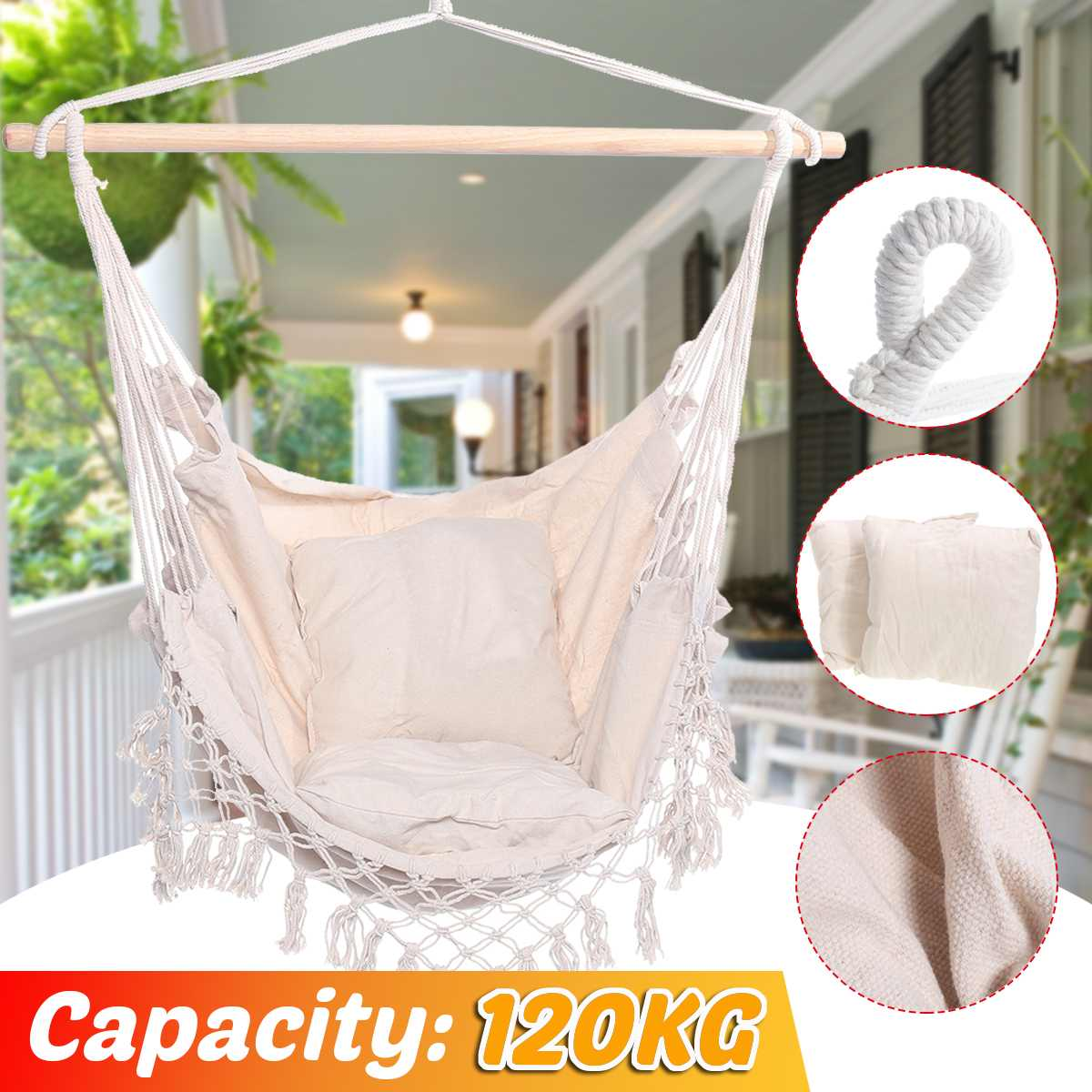 Indoor Outdoor Fringed Camping Hammock Garden Hanging Chair Travel For Child Adult 120kg Capacity Swing Chair With Pillows