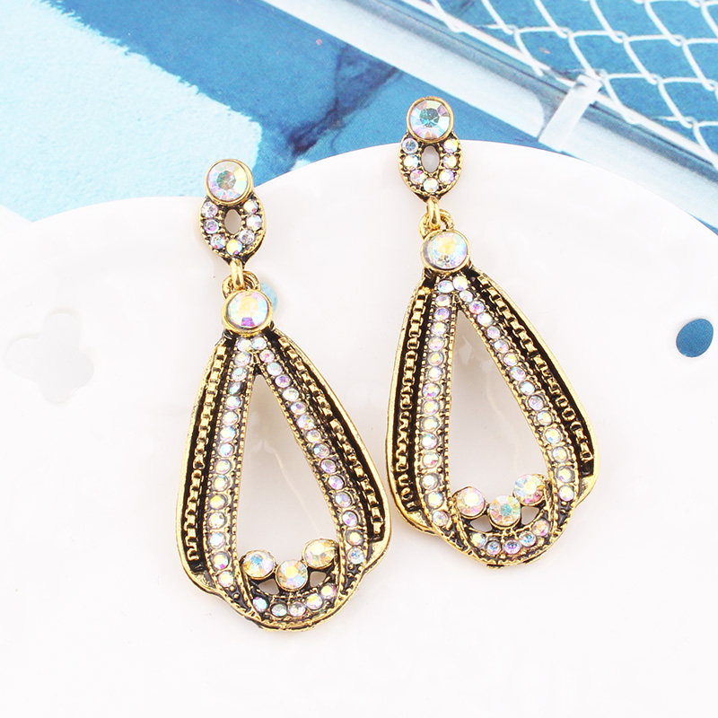 H33f2817063124009bd66cd43c0d812fao - LUBOV Exaggerated Blue Crystal Lace Golden Metal Chain Dangle Earrings Women Personality Statement Drop Earrings Christmas Gift