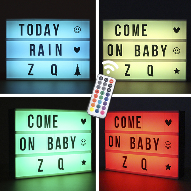 LED à changement de couleur lettre à décorer combinaison USB A4 RGB boîte à lumière lampe de nuit avec télécommande