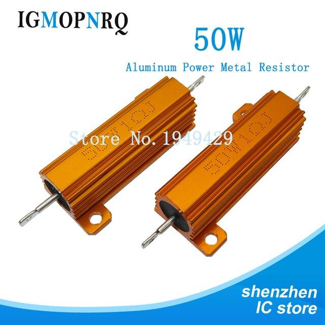 Алюминиевый металлический чехол RX24 50 Вт, проволочный резистор 0,01 ~ 100K 0,1 1 1,5 2 6 7 8 10 20 100 150 200 300 1K 10K 100k Ом