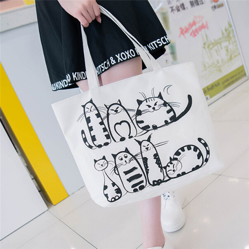 Women Canvas Shopping Bag Cartoon Cat Printed Shoulder Bag Female Large Capacity Ladies Beach Bag Canvas Tote Shopping Handbags