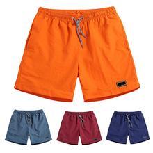 Мужчины мода повседневный +шорты мужчины пляж шорты брюки мужские повседневные дышащие быстросохнущие сухие брюки карманы пляж однотонный цвет спорт шорты