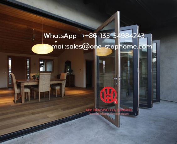 Porte pliante en aluminium de conception de porte principale de maison intérieure moderne, portes extérieures de Patio de conception de porte de bi-pli