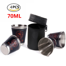 4Pcs/Lot 70ml Stainless Steel Camping Cup Tableware Drinking Water Cups Coffee Tea Beer Mug Travel Outdoor Camping Picnic Hiking