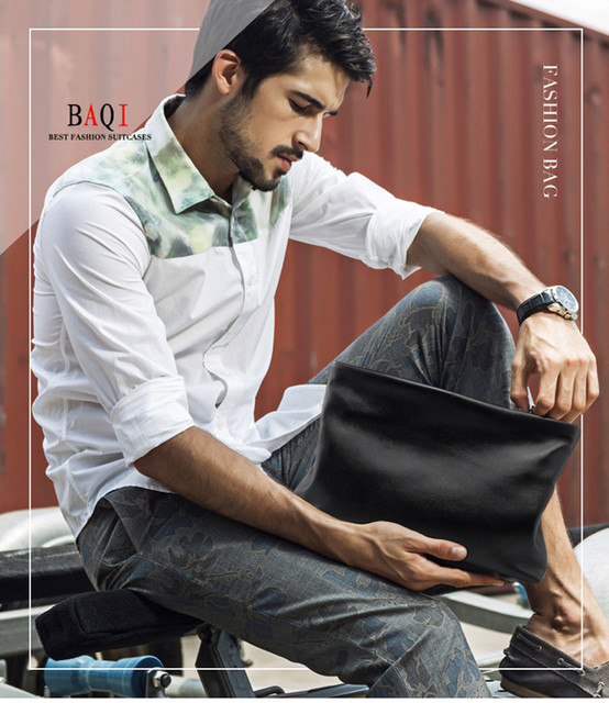 Natural Skin Leather Men's Clutch Bag