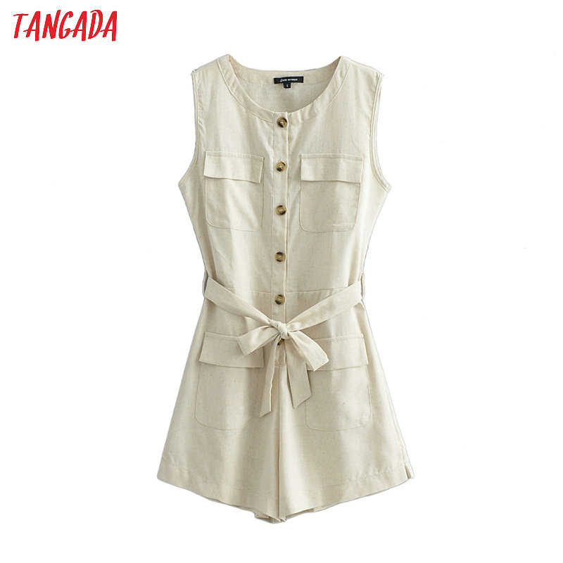 Women Vintage Summer Cotton Linen Playsuits Bow Tie Slash Sleeveless Rompers Ladies Casual Chic Jumpsuits JA08