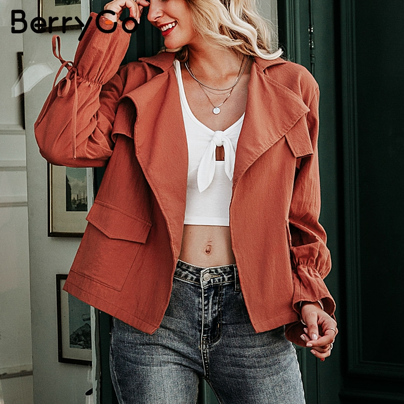 BerryGo Casual bell sleeve women autumn   trench   coat Lace up female tops outwear Casual loose ladies   trench   coat cotton overcoats