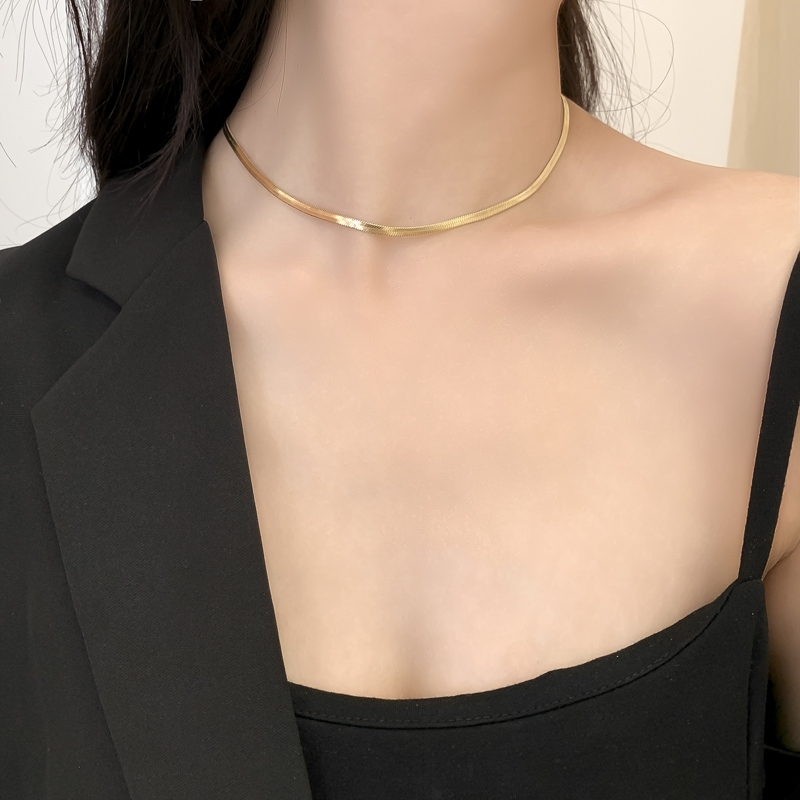 Vnox elegante 3/4mm mulher cobra corrente ouro tom espinha de peixe ligação corrente gargantilhas de metal sólido aço inoxidável candid festa jóias