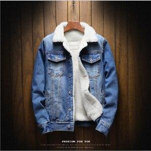 Men's Fleece Lined Denim Coat Winter Warm Fur Jean Jacket Trucker Collar S-6XL
