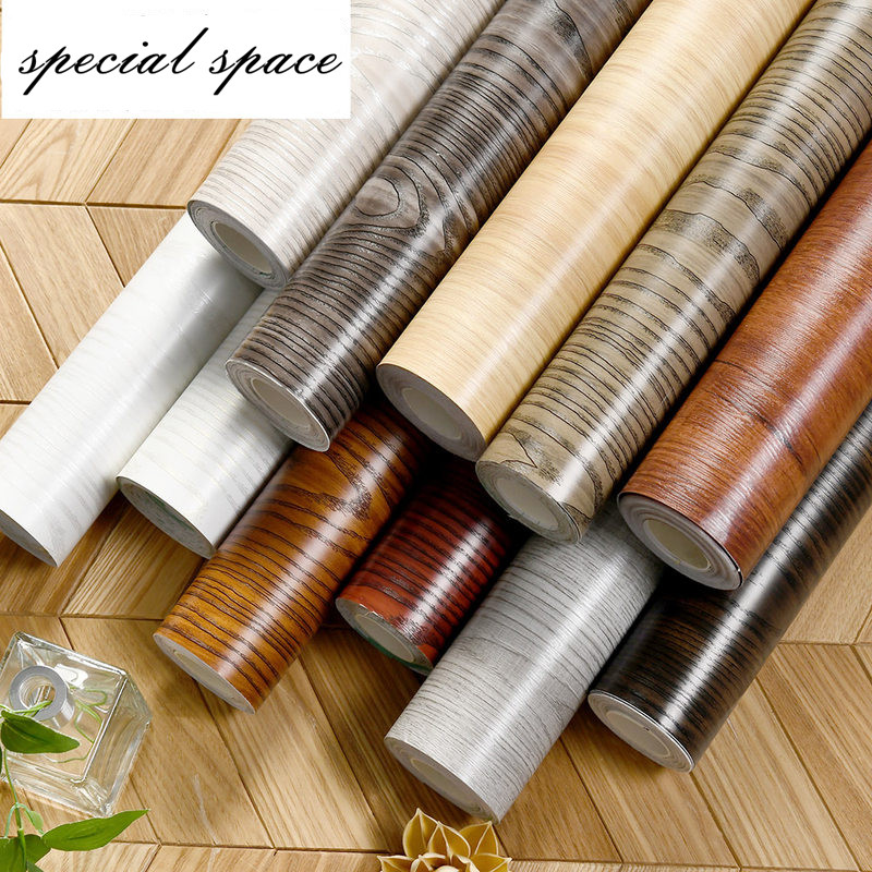 3m Waterproof Wood Vinyl Wallpaper Self Adhesive Kitchen Wardrobe Cabinet Furniture Renovation Door Wall Stickers Decorative