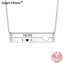 AC 925 Sterling Silver Customize Name Bar Pendant Necklaces Personalized Letters Memorial Jewelry Mom's Gifts Anniversary