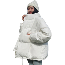 2020 fashion women solid winter coats jackets Korean style standing collar loose thick sprayed cotton casual parkas for womens