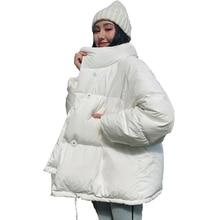 2020 mode femmes solide hiver manteaux vestes style coréen col debout lâche épais pulvérisé coton décontracté parkas pour les femmes