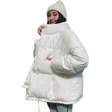 Moda 2020, chaquetas de abrigo de invierno sólidas para mujer, parkas informales de algodón pulverizadas gruesas y sueltas con cuello levantado de estilo coreano para mujer