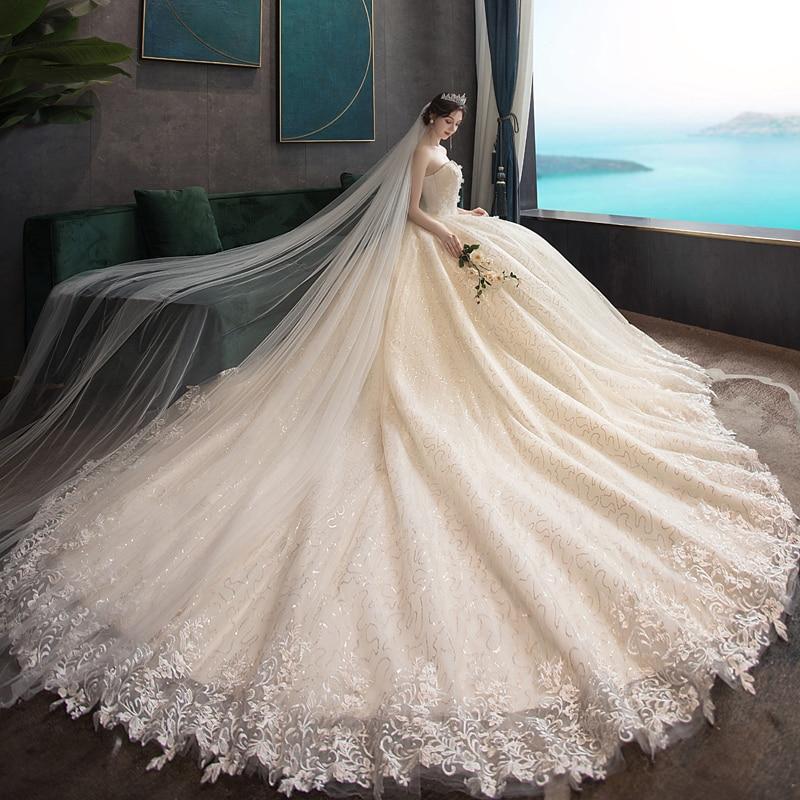 Hot Sale Dubai Pearl Beads Flowers Ball Gown Wedding Dresses 2020 New Long Court Train Muslim Lace Wedding Gowns Bridal Dress