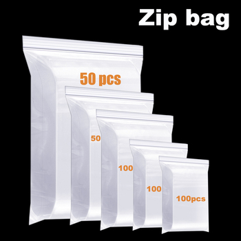 100Pcs Clear Thick Heavy Duty Zip Lock Bags Transparent Ziplock Poly Bag Package Small Jewelry Reclosable Plastic Zip Bags image