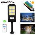 Дистанционное управление, COB солнечный светильник с датчиком движения, умное дистанционное управление, светильник для сада, стены, уличный ...