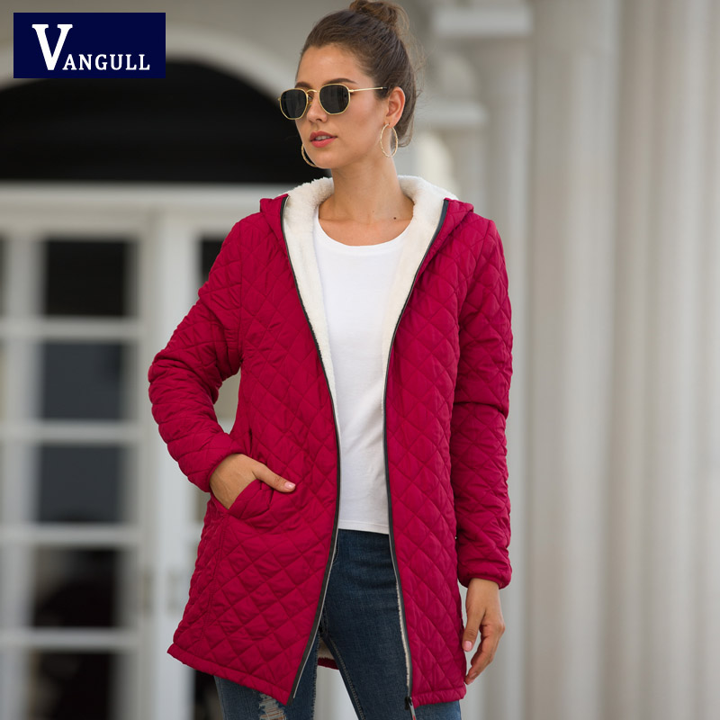 Vangull Warm Women Cotton   Parkas   2019 Autumn Winter Long thick Jacket Red Female Clothing Ladies velvet lamb hooded Outerwear