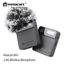 Relacart Mi1 2.4G Wireless Microphone system Receiver Transmitter Kit 3.5mm Lavalier Microphone for DSLR Camera Phones