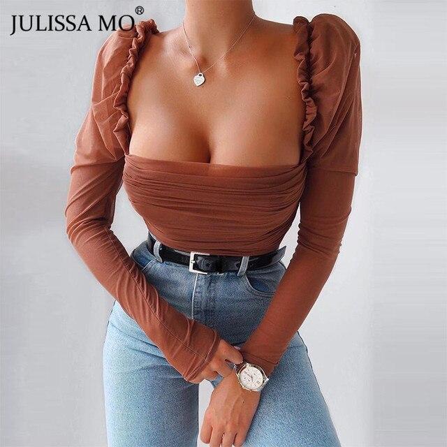 JULISSA MO Black Double Layer Mesh Sexy Bodysuit Women Tops Autumn New Long Sleeve Mid Waist Bodysuits Ladies Bodycon Overalls 2