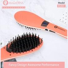 Hair Diva Ceramic Electric Straightener Brush LCD Hot Comb  Nylon Bristle Iron Coral Red