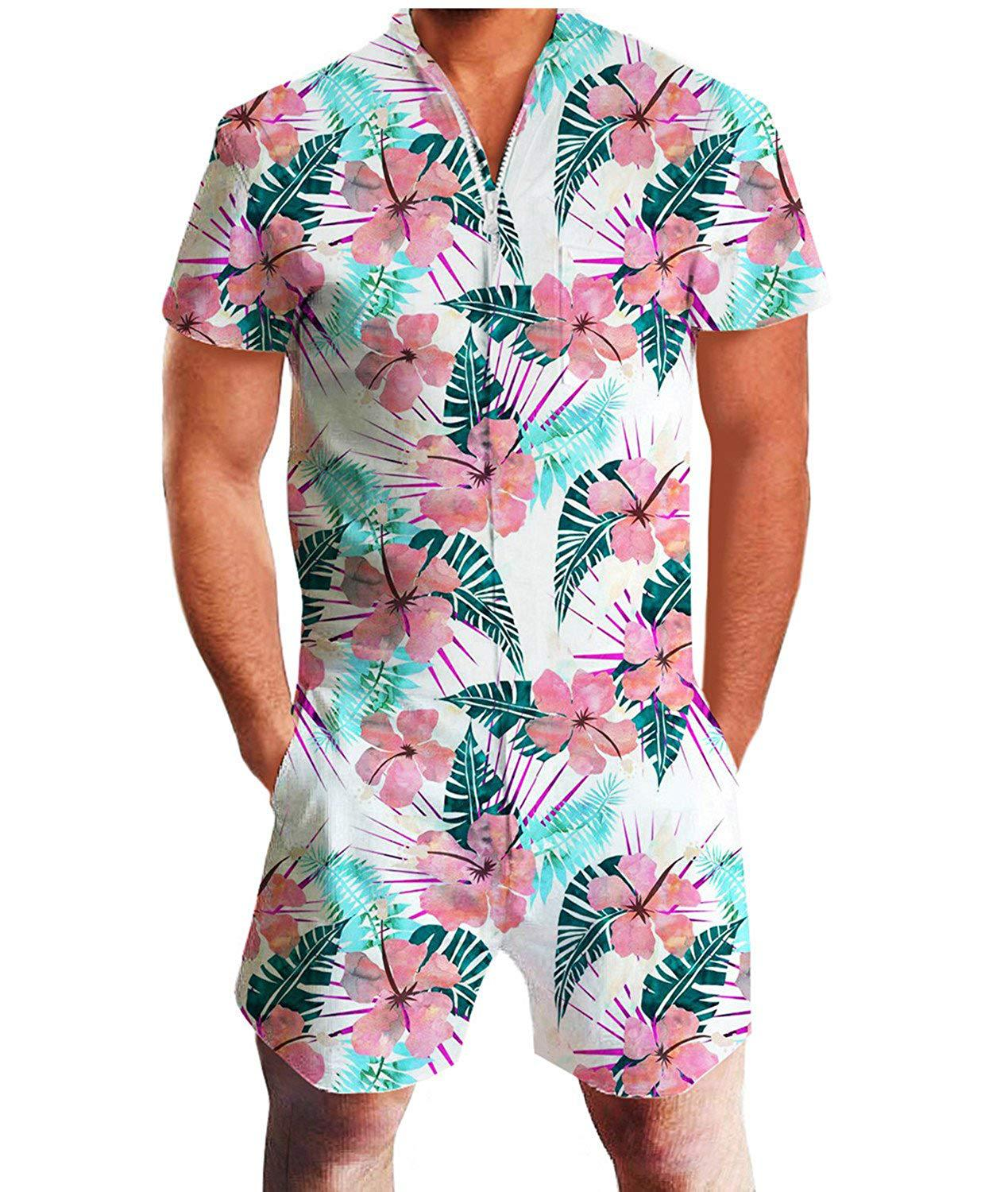 Europe And America Men's Summer Short-sleeved One-piece Hawaii Men Casual Tracksuit Printed Beach Swimming Trunks