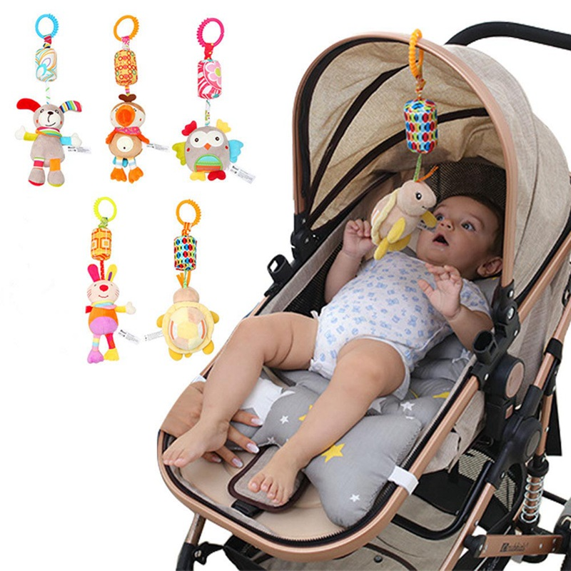 Baby Kids Rattle Toys Cartoon Animal Plush Hand Bell Baby Stroller Crib Hanging Rattles Infant Wind Chime Baby Toys Gifts