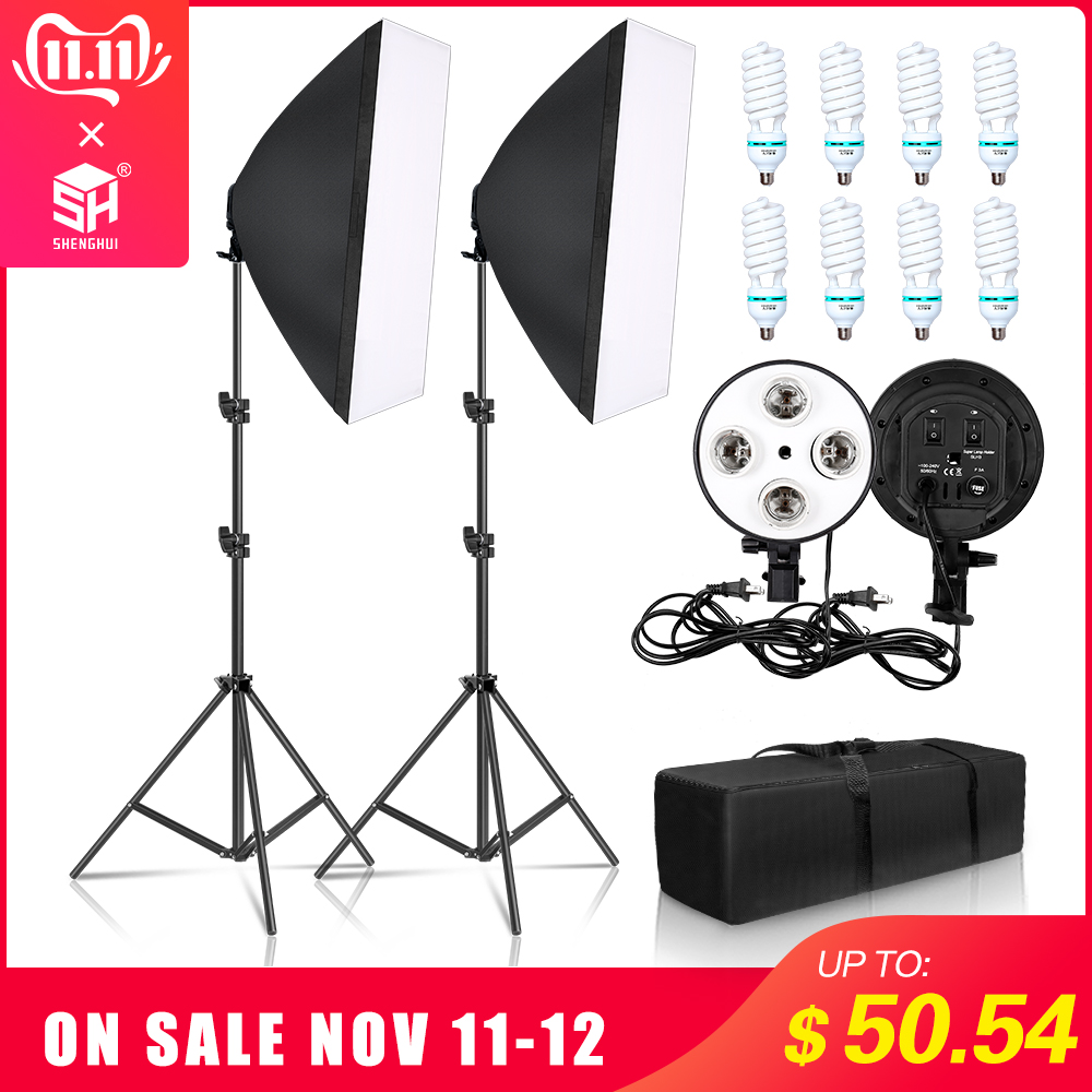Professional Photography 50x70CM Four Lamp Softbox Kit With 8pcs Bulb Soft Box Accessories Tripod Stand For Photo Studio Video-in Photo Studio Accessories from Consumer Electronics