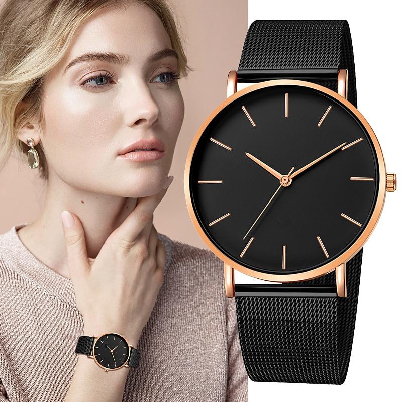 Fashion Reloj Mujer Quartz Watch Simple Montre Femme Women Mesh Stainless Steel Bracelet Casual Wrist Watch Metal Hours Relogio
