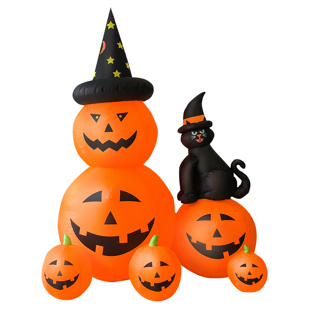 Halloween 6FT Long Inflatable 6 Pumpkins with Witch's Cat with Build-in LEDs Blow Up Inflatables for Halloween Party Outdoor Toy