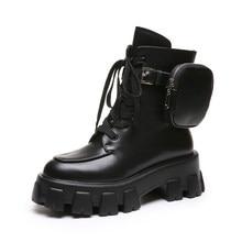 Prova perfetto 2020 bolso botas de motocicleta mulher sapatos plataforma rendas até grosso-sola preto militar sapatos mulher meia botas mujer
