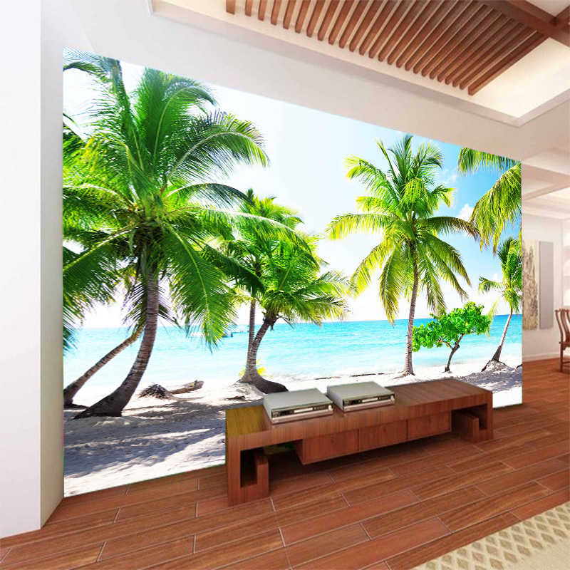 Mediterranean Background Of Television In The Drawing Room Wallpaper Nonwoven Fabric Large Mural 3D Seamless Sea View Palm Dolph