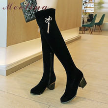 цена на Meotina Winter Over The Knee Women Fringe Square High Heel Thigh High Boots Bow Zipper Round Toe Shoes Ladies Autumn Size 33-43