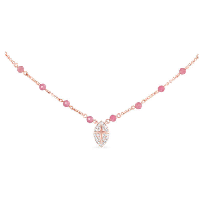 SLJELY Fashion Rose Gold Color 925 Sterling Silver Pink Beads Necklace with Embellished Pendant Zirconia CZ Women Brand Jewelry