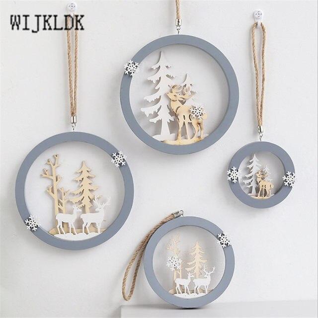 Christmas Ornaments Wooden Round Elk Pendant Christmas Decorations Hanging Christmas Tree Decoration Pendant New Year Navidad-S 13