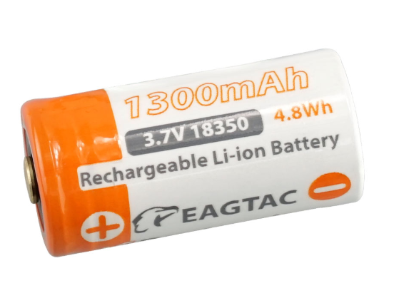 EAGTAC 18350 1300mAh 3.7V Protected Li-ion Battery (10A Anode Protection) Button Top