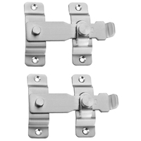 Home Security Gate Latch 4 Inch Heavy Duty Stainless Steel Door Latch to Keep You Safe and Private  Childproof Door Reinforcemen Electric Lock Security & Protection -