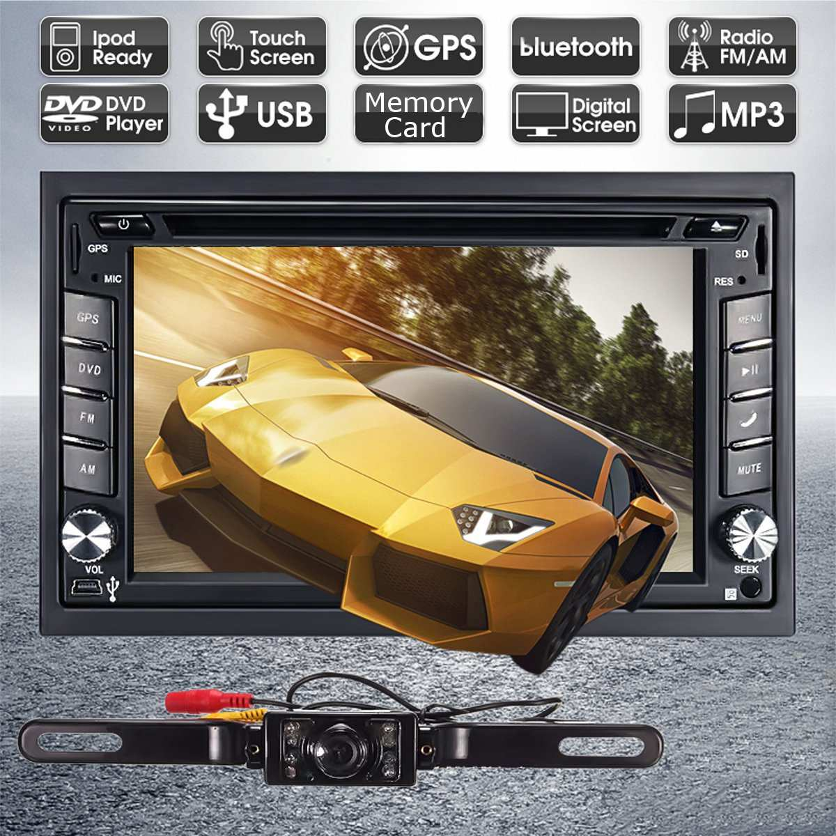 <font><b>GPS</b></font> Navigation HD <font><b>2DIN</b></font> <font><b>6.2</b></font> <font><b>Inch</b></font> Car Stereo DVD Player bluetooth for iPod MP3 Camera with North America Map or European map image