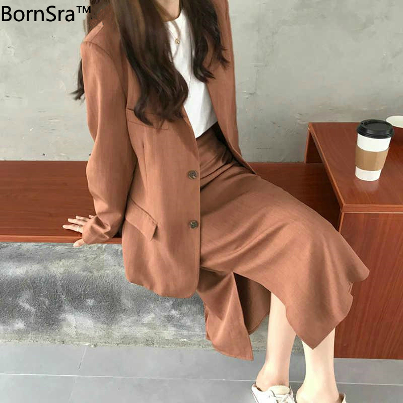 BornSra Chic Two-pieces Women Skirt Suit 2020 Casual Female Blazer Sets Single-breasted Jacket & Split Skirt Women Blazer Suit