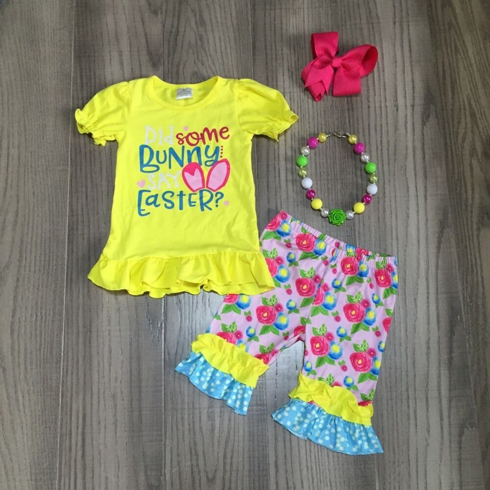 Baby Girls Easter Outfits Girls Yellow Shirt With Floral Capri Pant Girls Outfit With Accessories