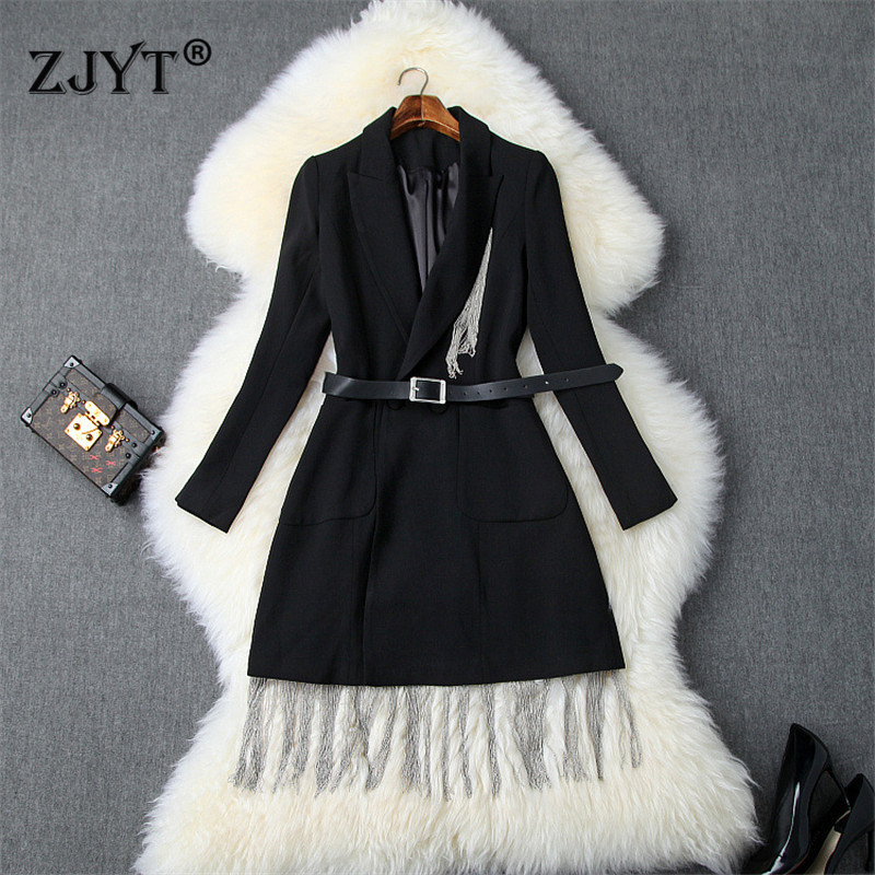 Ladies Elegant Notched Collar OL Tassel Beading Long Blazer Women Long Sleeved Slim Jacket Coat 2019 Autumn New Blazer Suits