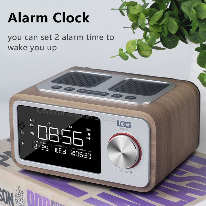 Retro Holz Drahtlose Bluetooth Lautsprecher Kleine Tragbare 6W Hause Led bildschirm FM Radio Wecker Stereo Lautsprecher Bass Subwoofer - 4