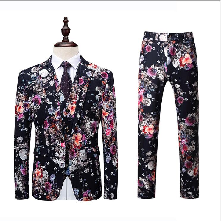 2019 Autumn And Winter Men's Fashion Suits Flower Color Male Long-Sleeved Wedding Tuxedos High Quality Business Suit 3 Piece