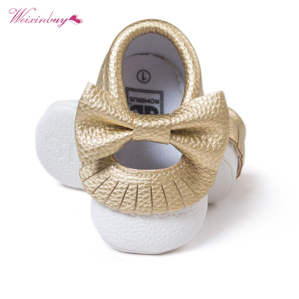 WEIXINBUY Baby Gold Shoes Soft Sole Moccasin Newborn Babies PU Leather Slip-on First Walkers