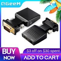 QGeeM-Adaptador convertidor VGA a HDMI, Compatible con 1080P, VGA, HDMI, para PC, portátil, a HDTV, proyector, convertidor de Audio y vídeo
