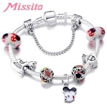 MISSITA Cute Mickey Series Bracelets Bangle with Love Heart Pendant Brand Bracelet for Women Wedding Anniversary Gift