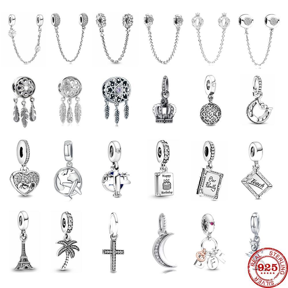 Jewelry Bracelet Book Charm Airplane Fine-Beads Cross-Crown 925-Sterling-Silver DIY Women