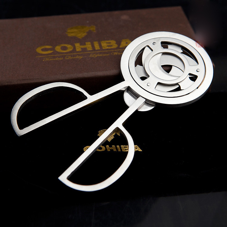 COHIBA Triple 3 Blades Stainless Steel Silver Tone Cigar Cutter Pocket Gadgets Zigarre Cutter Knife Cuban Cigars Scissors