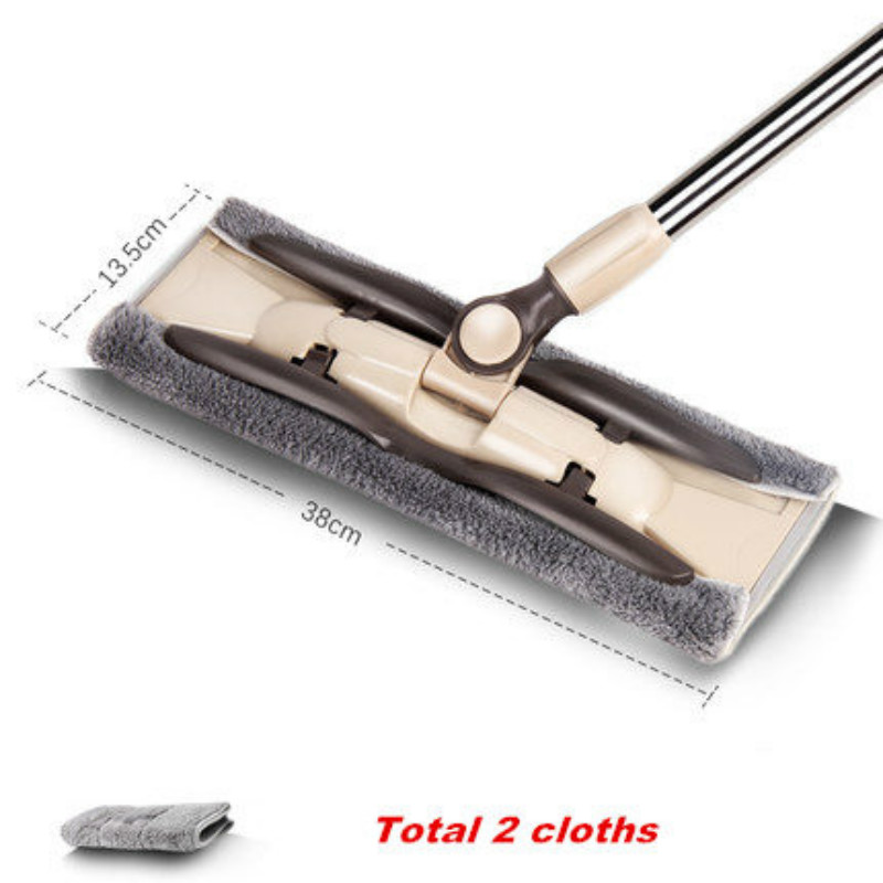 Free Hand Washing Flat Mop Household Wooden Floor Mop Tile Floor Lazy Dry And Wet Dual Use Reusable Cloth Rags Telescopic Handle